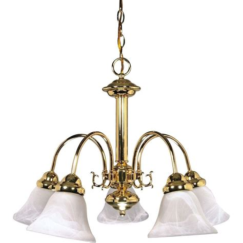 Glomar Sophrosyne 5 Light Polished Brass Chandelier With Brass Chandelier
