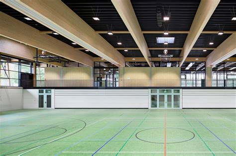 designboom gym loewer partner supports sports complex with angled piloti