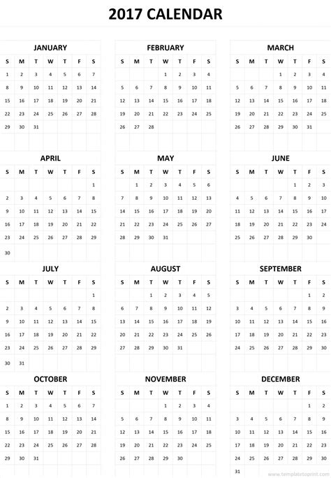 Free Printable 2017 Calendar On One Page | 2017 calendar one page yearly printable calendar