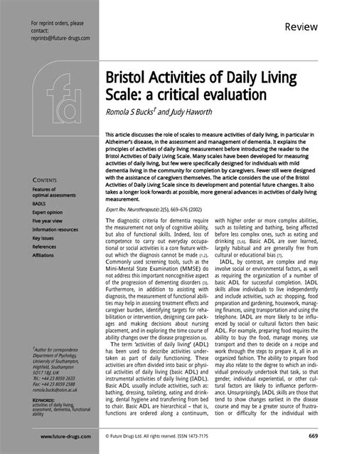 bristol activities  daily living scale  critical evaluation