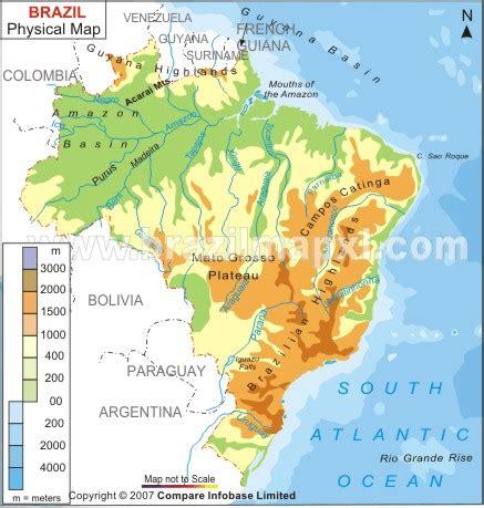 brazil physical map geography brazil facil