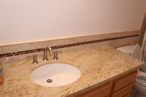 Tiles Backsplash Kitchen mediterranean style bathroom with river gold granite