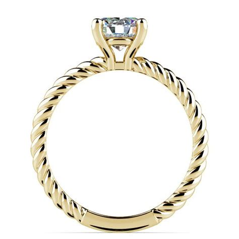 twisted rope solitaire engagement ring in yellow gold