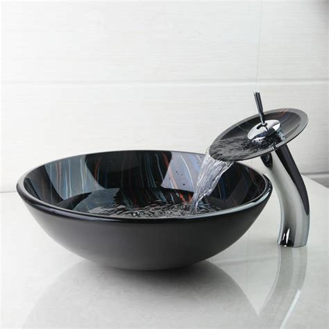 best modern tempered glass basin bowl sinks vessel painting basins with brass faucet taps