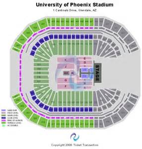 University Of Phoenix Stadium Parking Map by University Of Phoenix Stadium Tickets Football Seating