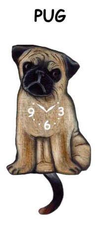 pug clocks pug clock with moving pendulum