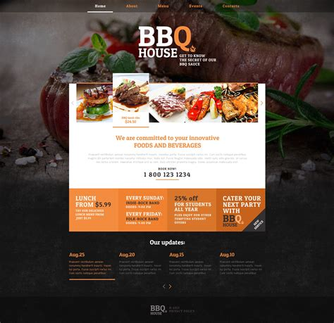 Bbq Restaurant Responsive Website Template 46913 Restaurant Website Template