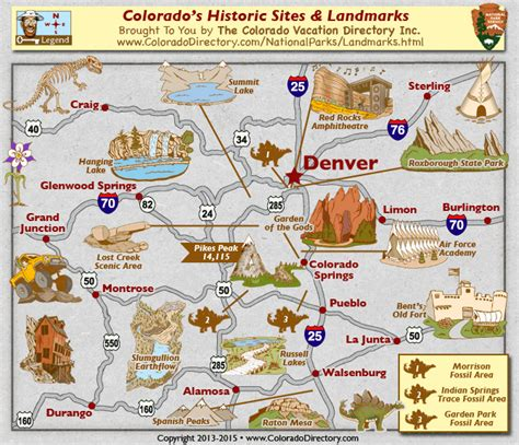 colorado springs tourist attractions map colorado national historic fossil landmarks map