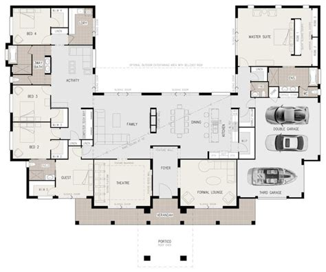 best floorplans floor plan friday u shaped 5 bedroom family home building house plans u shaped house plans