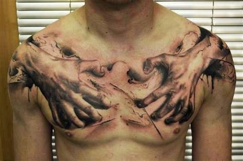 Tattoo Chest Hand | 3d tattoos and designs page 174