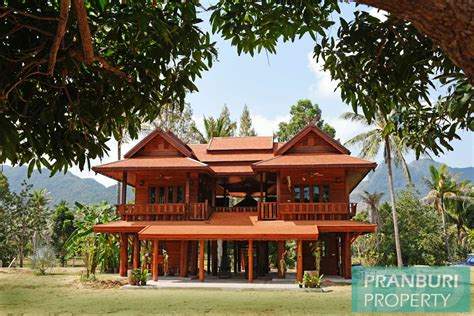 thailand house for sale newly built thai style teak wood house on 5 rai plot near beach dolphin bay pranburipranburi