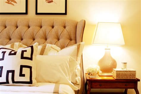 gorgeous bedroom design with mushroom linen tufted