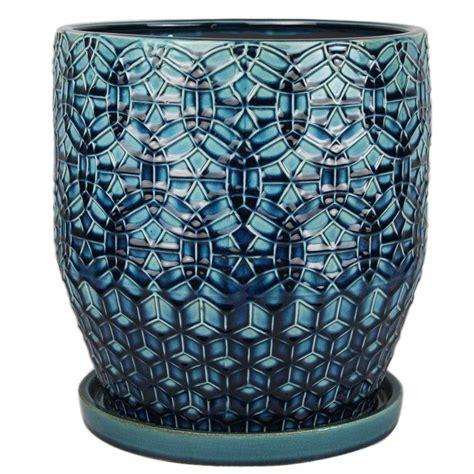 10 ceramic pot 10 in dia blue ceramic rivage pot cr10853 10a the