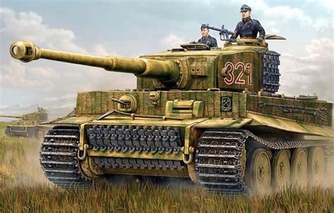 oboi risunok tigr art tank nemtsy panzerkampfwagen vi tiger  nemetskiy tyazhelyy tank vremen