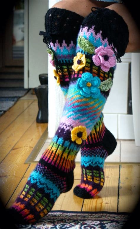pattern flower socks flower knee highs crochet patterns pinterest wool