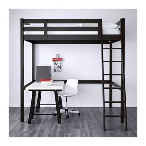 art van loft bed with desk stor 197 frame hoogslaper zwart ikea