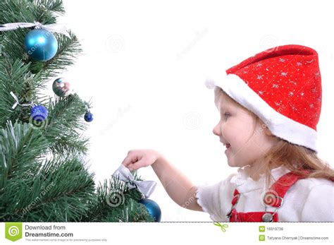 preparing a christmas tree royalty free stock photos