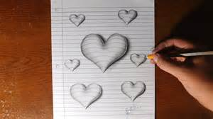 How To Make 3d Drawings On Paper - how to draw 3d hearts line paper trick