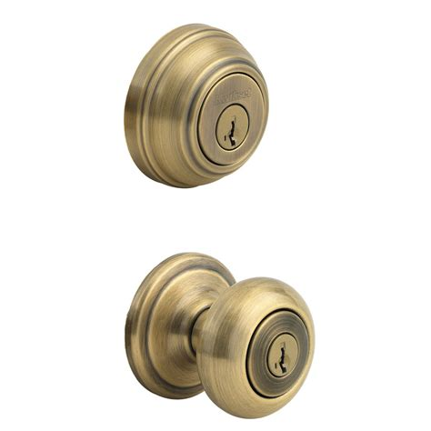Keyed Door Knobs by Shop Kwikset Juno Smartkey Antique Brass Keyed