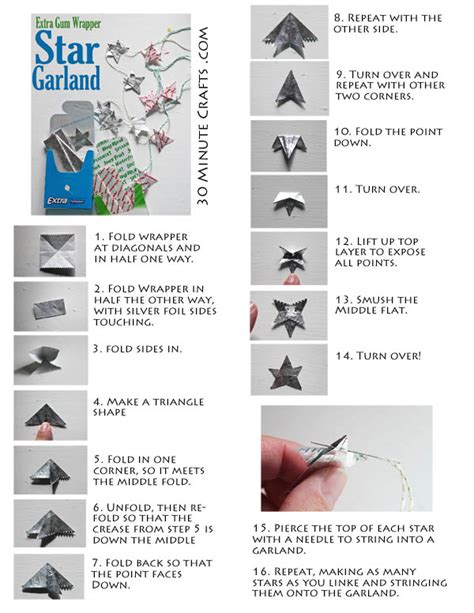 origami from gum wrapper gum wrapper garland