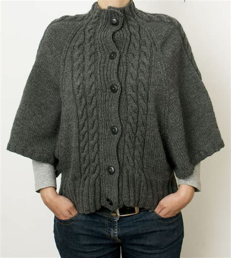 big needle knitting sweater patterns free knitting pattern for cabled batwing cardigan