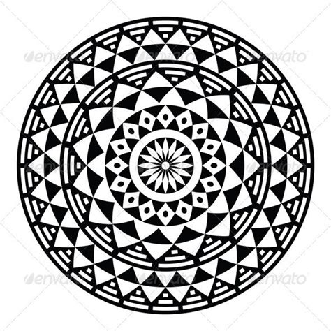 circular pattern drawing tribal aztec geometric pattern or print in circle vector