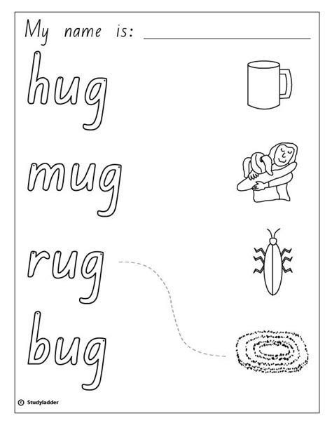 Words That Rhyme With Rug by Words And Pictures Hug Mug Rug Bug Skills