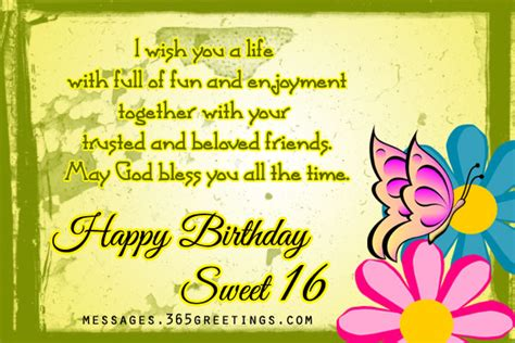 Quotes For Sixteenth Birthday 16th Birthday Wishes Birthday Wishes Gifts And Sweet