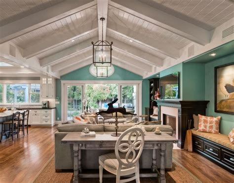 Turquoise Living Room And Kitchen Turquoise Walls White Panel Ceiling White Kitchen