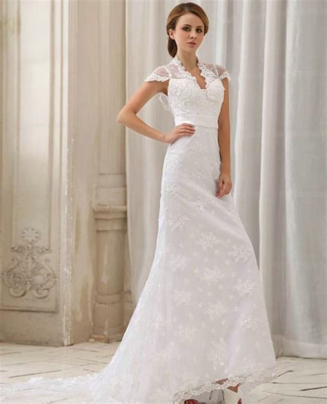 simple lace wedding dresses with cap sleevesCherry Marry