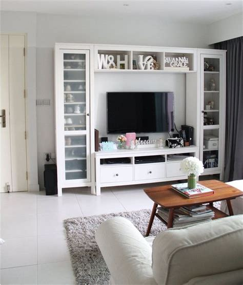 living room media center ikea hemnes i like the stand itself but way too much busy