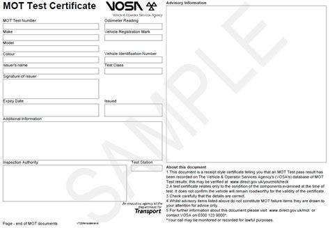 mot mot new new mot certificate october 2011