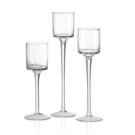3 Glass Candle Holders Set Of 3 Tea Light Glass Candle Holders Wedding