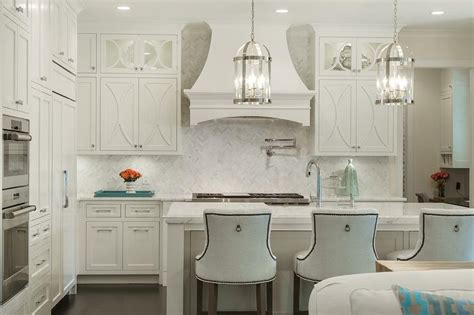 White Kitchen Cabinets With White Backsplash White Herringbone Backsplash With Off White Kitchen