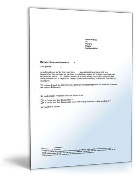 Vob Musterbriefe Für Auftraggeber Mahnung Einer Schlusszahlung Nach Vob