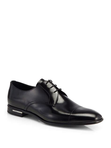prada spazzolato leather derby shoes in black for lyst