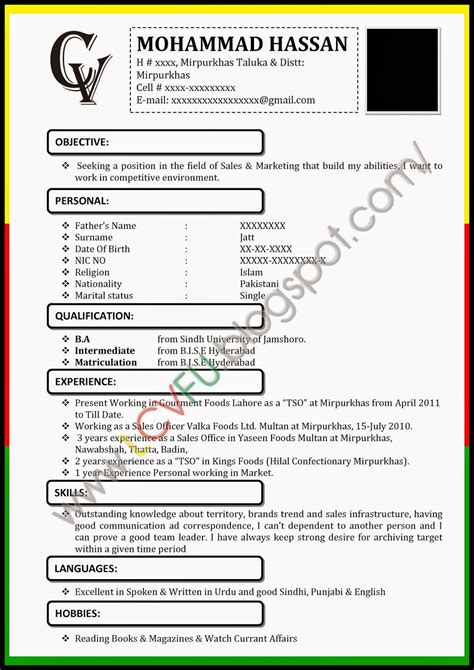 cv format word in pakistan latest cv formats updates