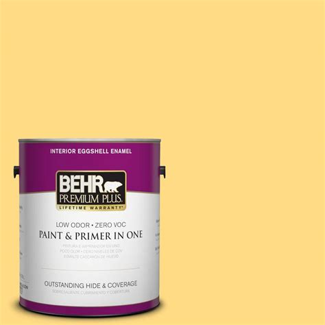home depot behr paint yellow behr premium plus 1 gal p290 4 spirited yellow eggshell