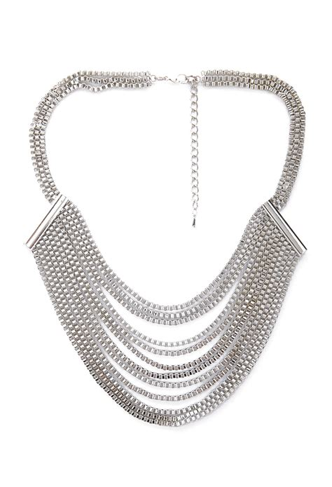 forever 21 layered box chain bib necklace in silver lyst