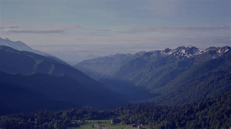 mh peaceful mountain blue town house sunny sky nature
