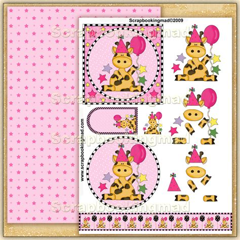 3d Decoupage Free Downloads - birthday giraffe pdf decoupage 163 1 50