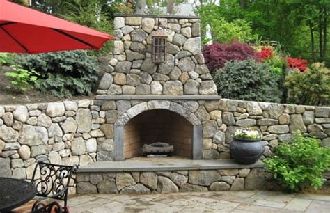 outside corner fireplace fireplaces and pits landscaping