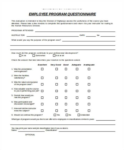training evaluation form exles
