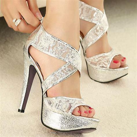 gorgeous high heel shoes lace stripe gorgeous wedding prom shoes platform