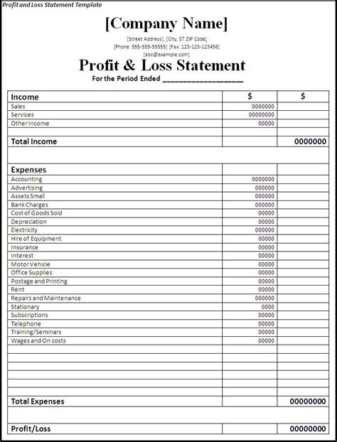 profit and loss statement template word excel pdf