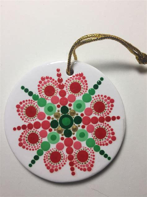 hand painted ceramic christmas ornament mandala art dot