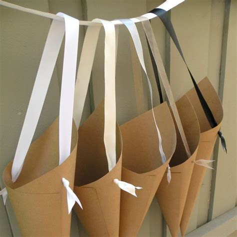 paper cones for wedding flowers wedding custom ribbon and flower on