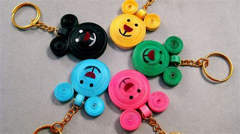 How To Make Paper Key - paper quilling designs beautiful micky mouse key chains