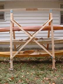 a closeup view of the construction of an a frame kayak