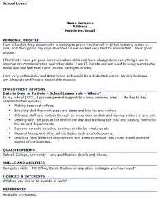 leaver cv example cover letters and cv examples